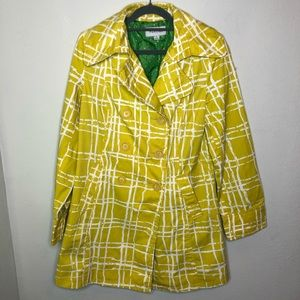 Golden Yellow and White Graphic Print Trench Coat
